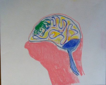 "Brain by Joe Sher, 2013 Pastel on Fabrianao Paper, 14"" X 17"""