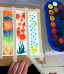 Creating Hope's watercolor bookmark process