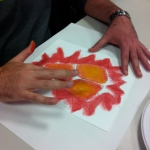 The Bodyscapes Technique drawing activity comonent during the presentation at The Little Red Door Cancer Agency in Indianapolis, Indiana. October, 2014