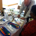 John Gianfagna leads the watercolor book mark process
