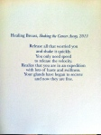 Healing Breast, Shaking the Cancer Away, 2015