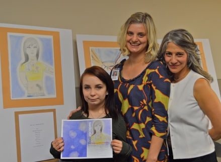 Proud of The Art Produced:  The normally quiet and shy Katie reveals some of her feelings about living with dialysis, to the delight of her social worker and Diane