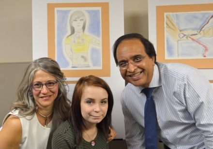 Nephrologist Dr. Mohammad Ilyas shares the joy of Katie's artistic accomplishment.